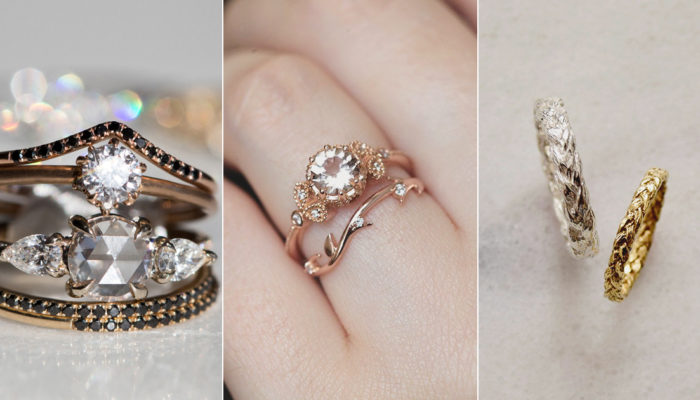 Wedding Band Pairings! 30 Anything-But-Plain Wedding Bands That Pair Perfectly With Modern Engagement Rings!
