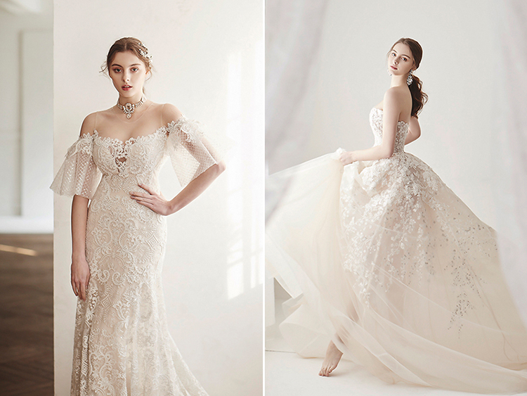 ivory champagne wedding dress