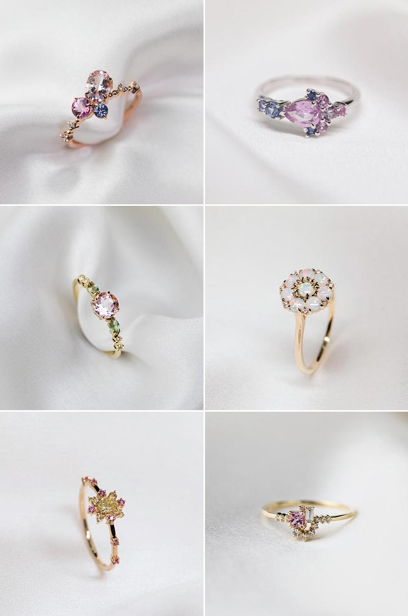 Engagement ring trends floral bouquet