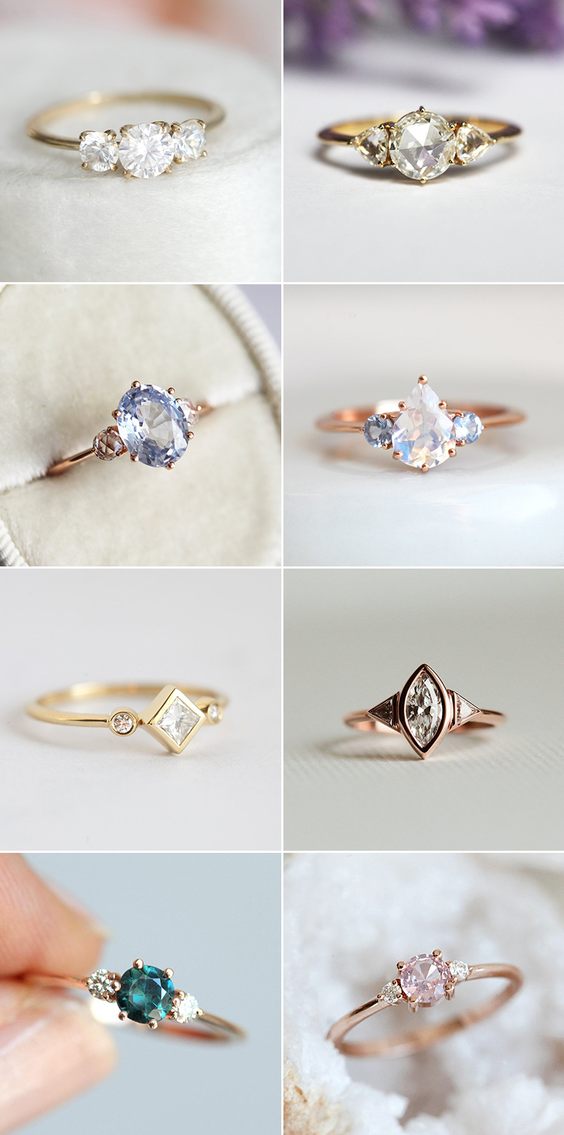 Engagement ring trends modern three stone