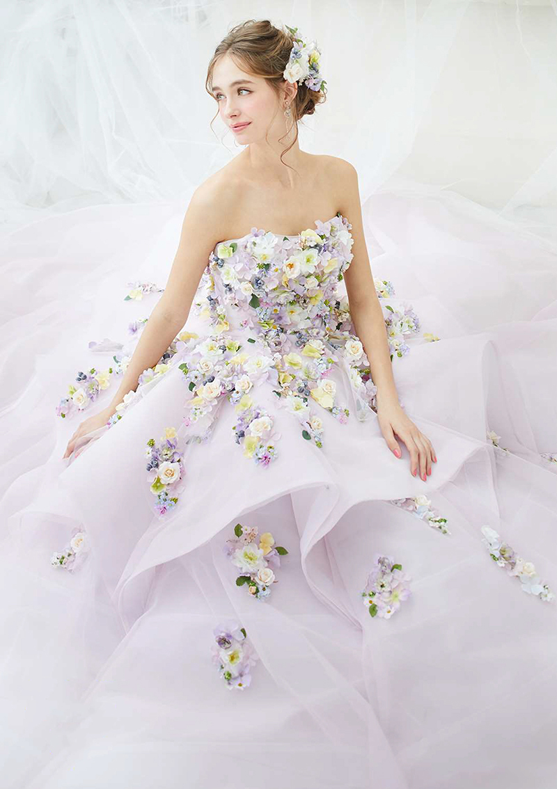 Floral gown wedding dress