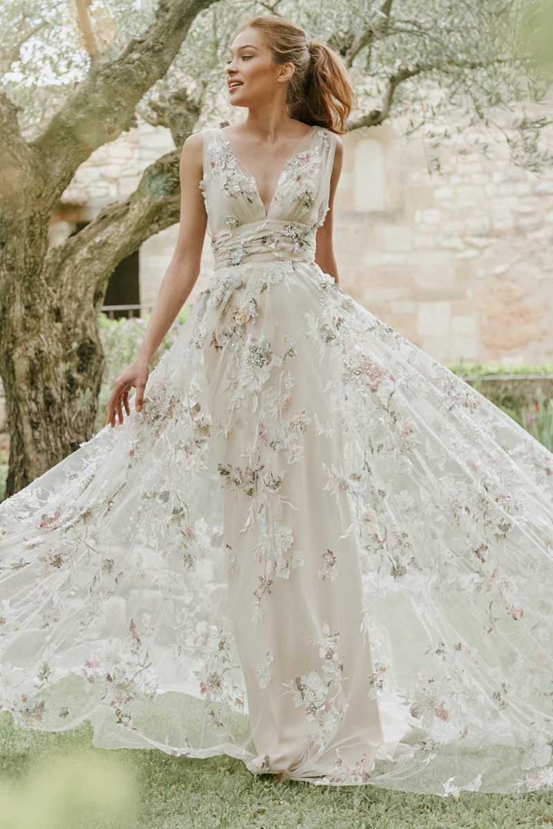 floral wedding dress gown