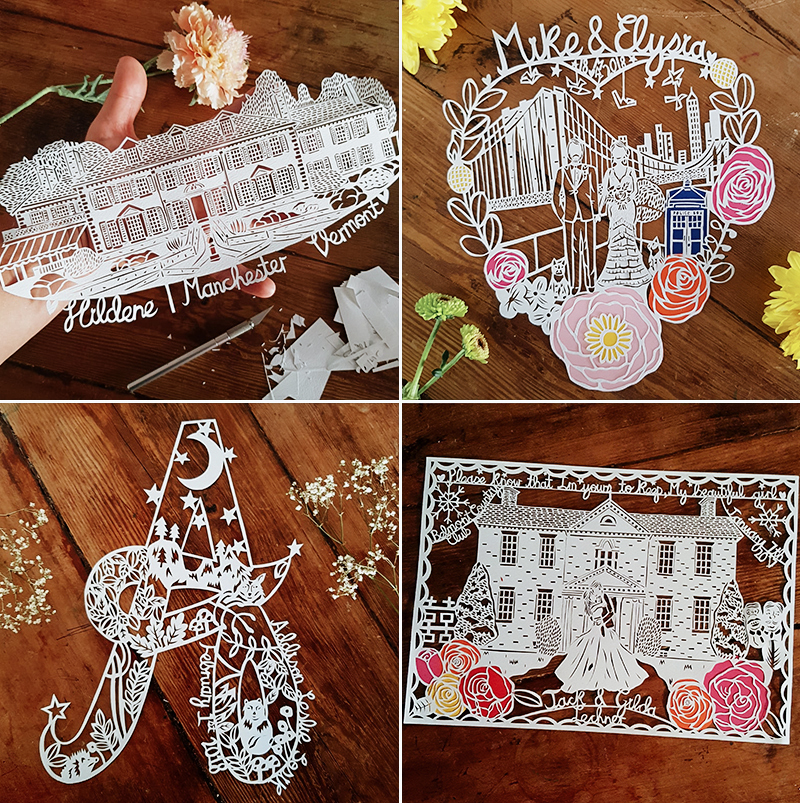 Personalized Wedding Papercut Portrait