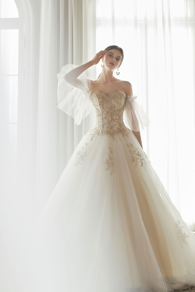 whimsical glam romantic wedding dress