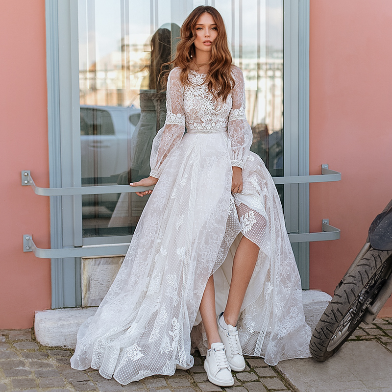 whimsical romantic glam wedding dress