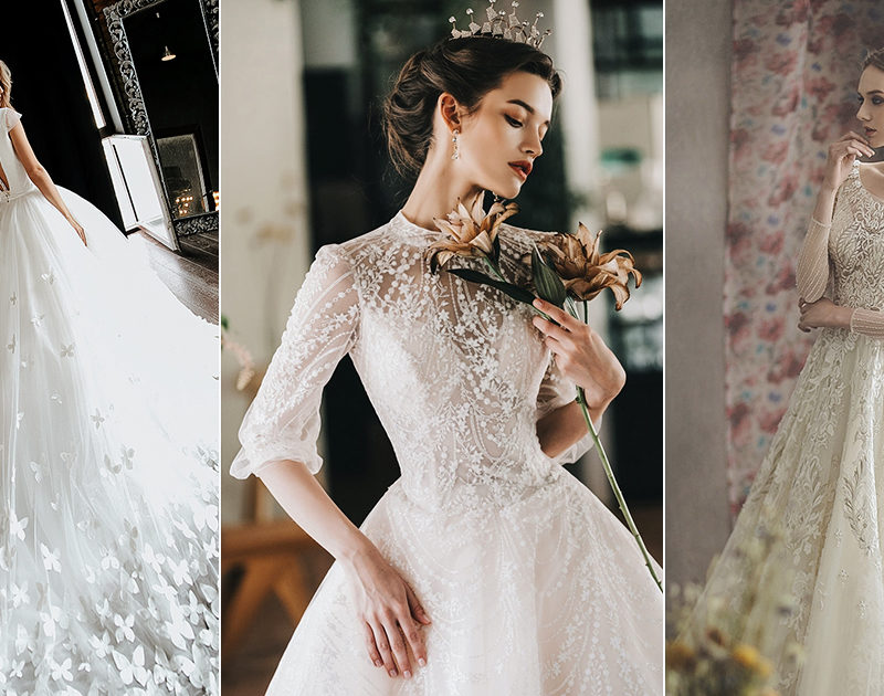 15 Whimsical Glam Wedding Dresses Featuring Romantic Detailing