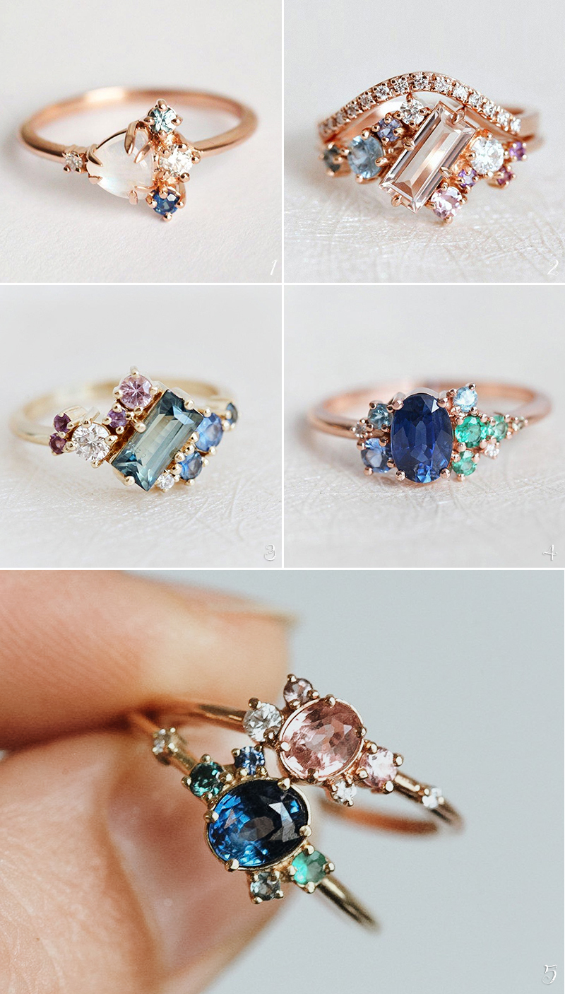 diamond alternative gem stone engagement rings