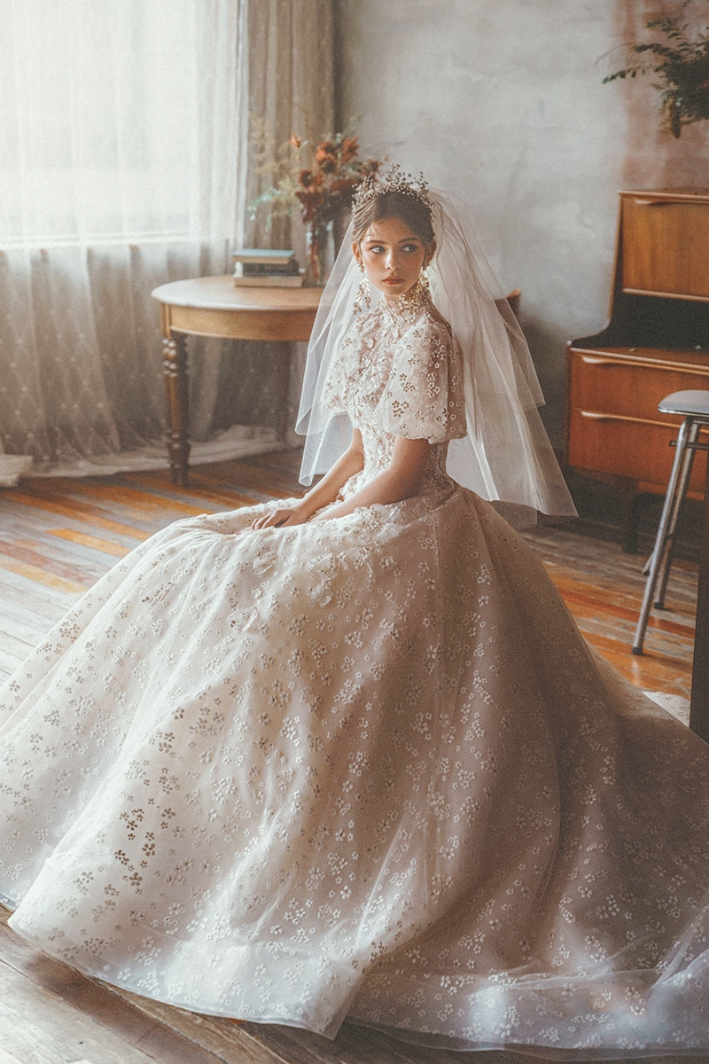 winter sleeved wedding dress