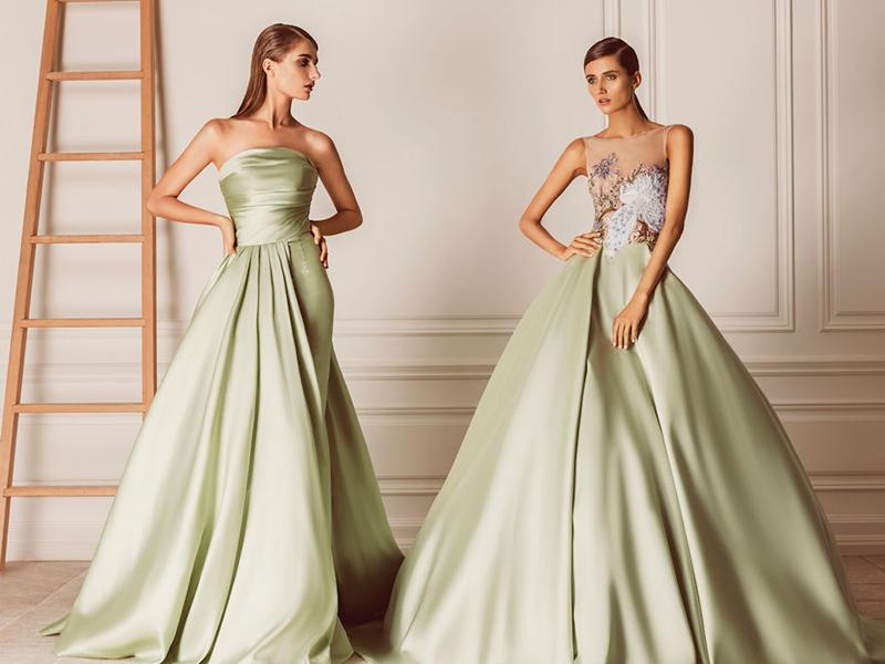colored minimalist simple wedding dresses