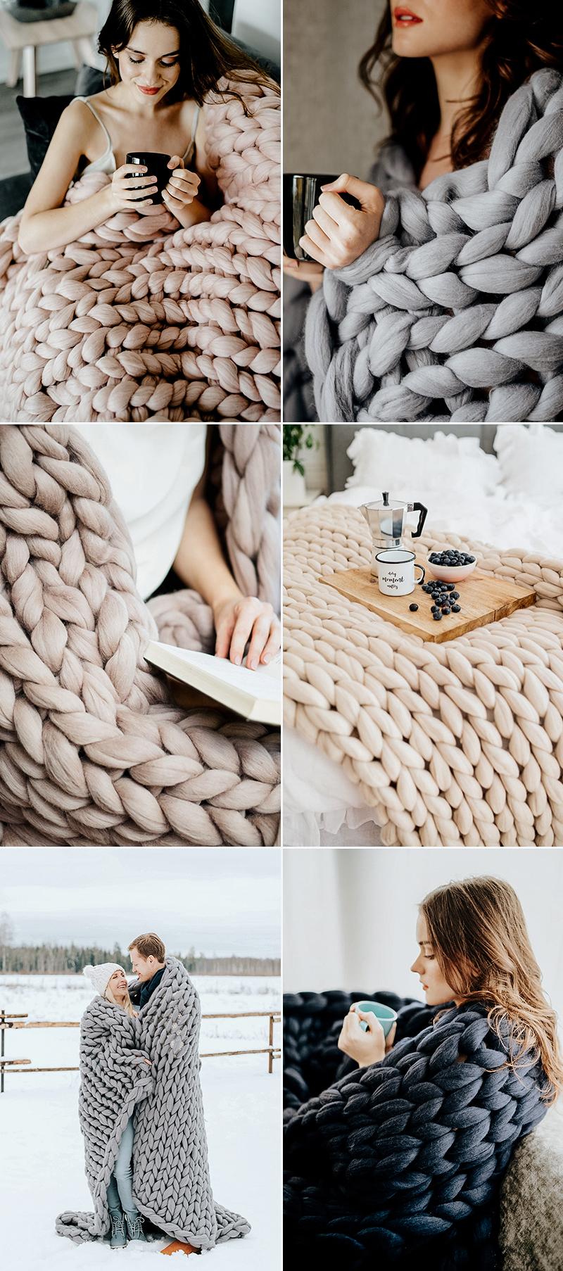 chunky knit blanket christmas gift idea