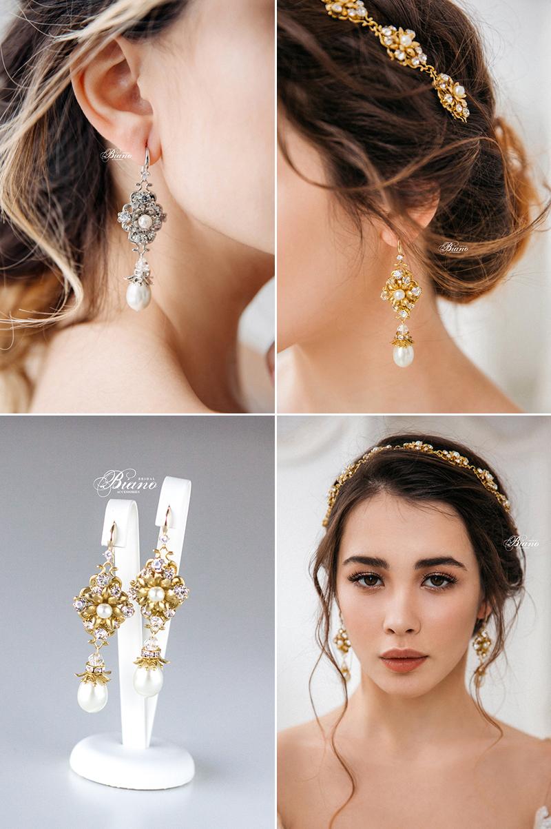 Skylar Rhinestone Flower Pearl Drop Earrings