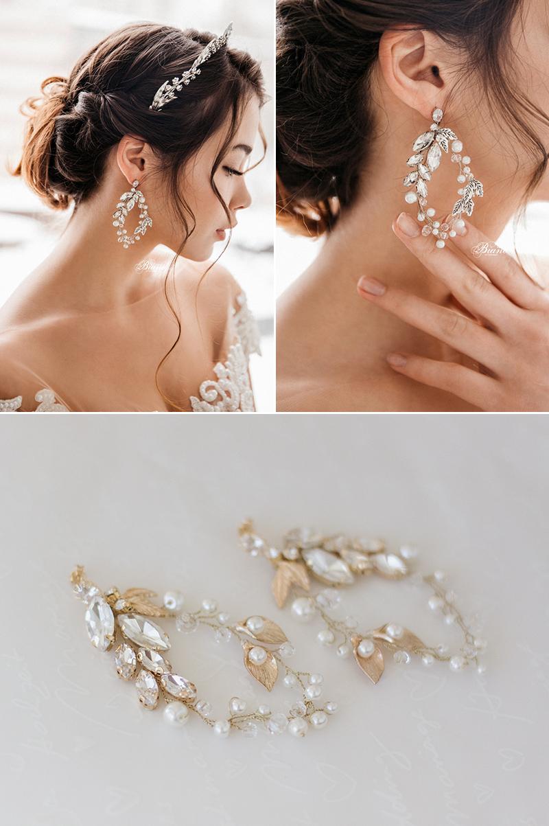 Lilu Glass Rhinestone Pearl Earrings