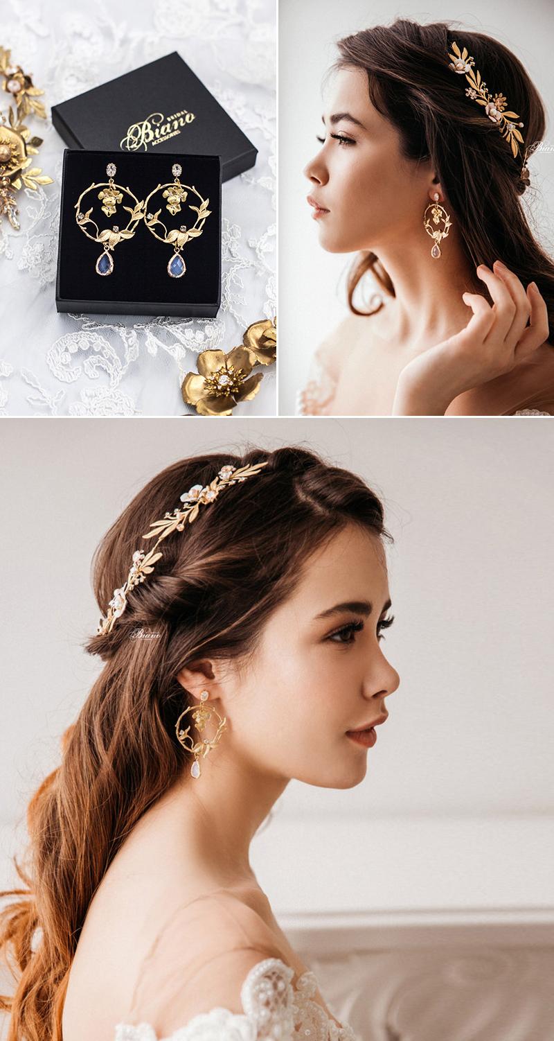 Abi Floral Hoop Teardrop Crystal Earrings