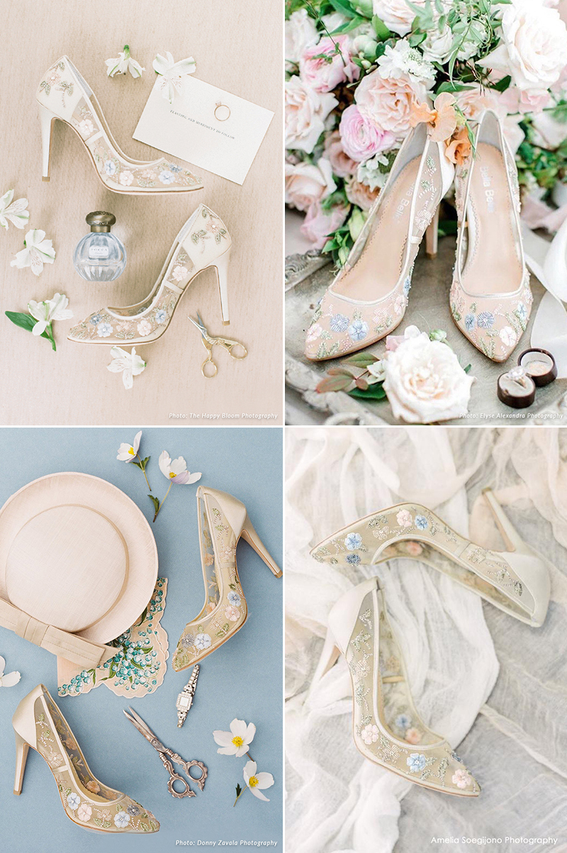 garden-inspired floral wedding shoes