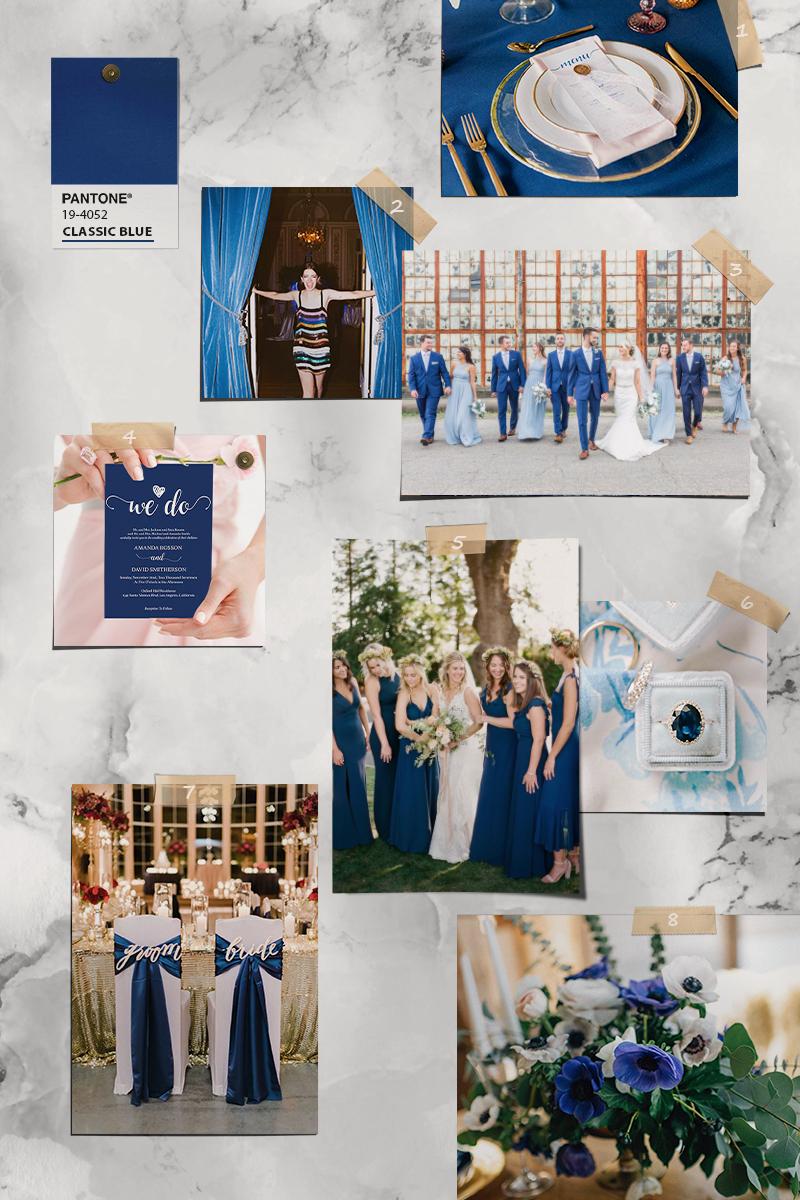 pantone 2020 wedding color classic blue theme palette