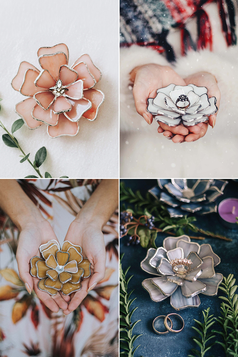 Glass Flower Ring Dishes
