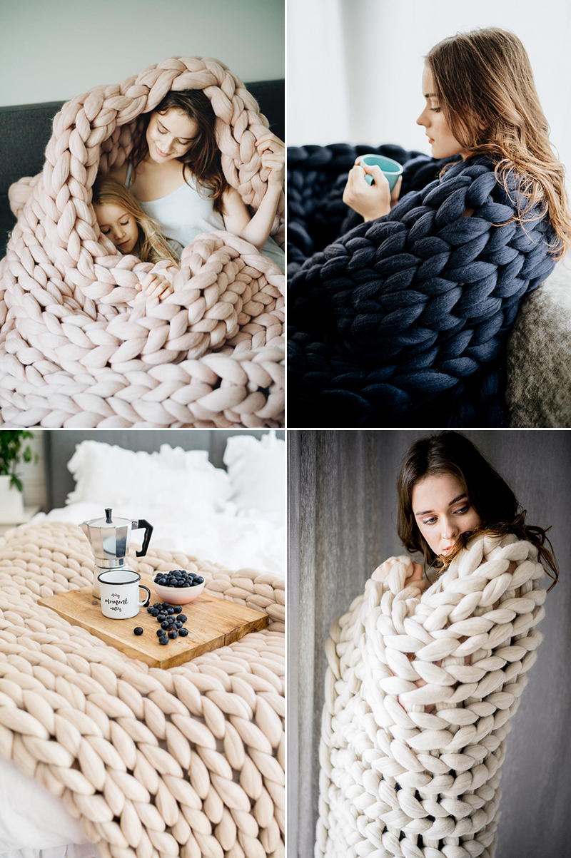 Chunky Knit Cozy Blankets