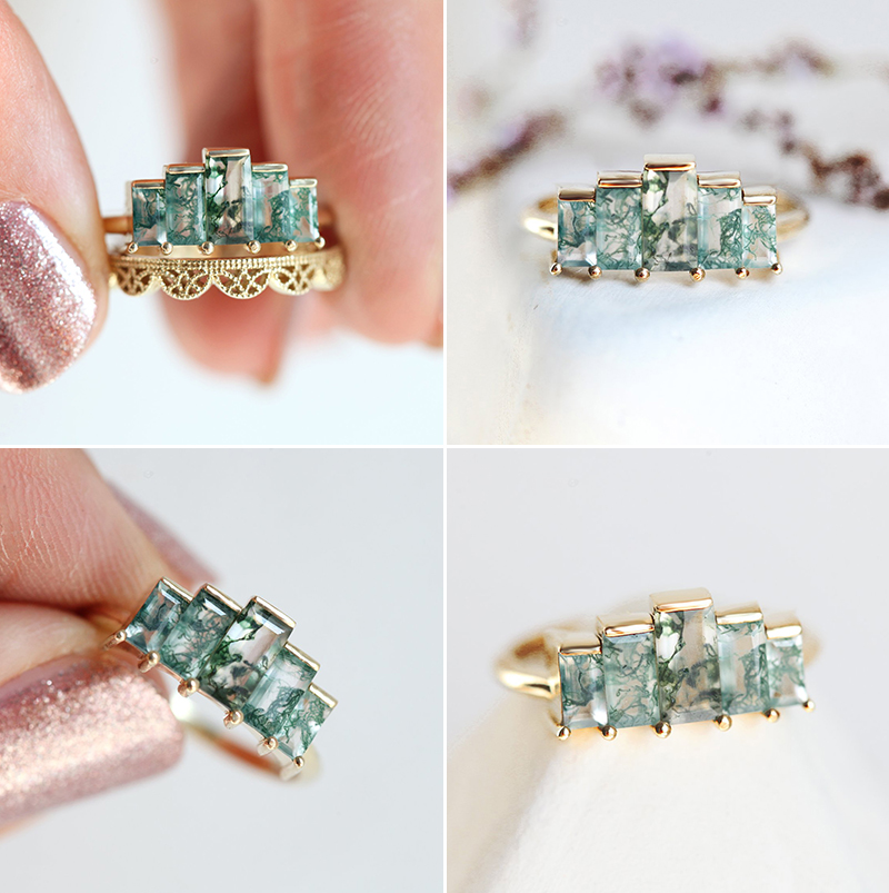 Art Deco Moss Agate Ring