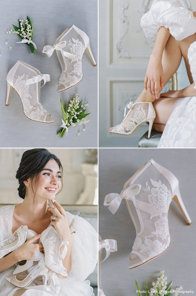 Ribbon Tie Lace Embroidered Bootie