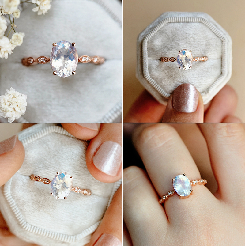 Lorna Vintage Oval Moonstone Ring