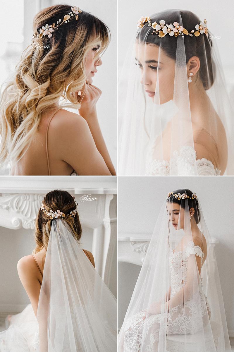 Enamel Floral Pearl Bridal Headband