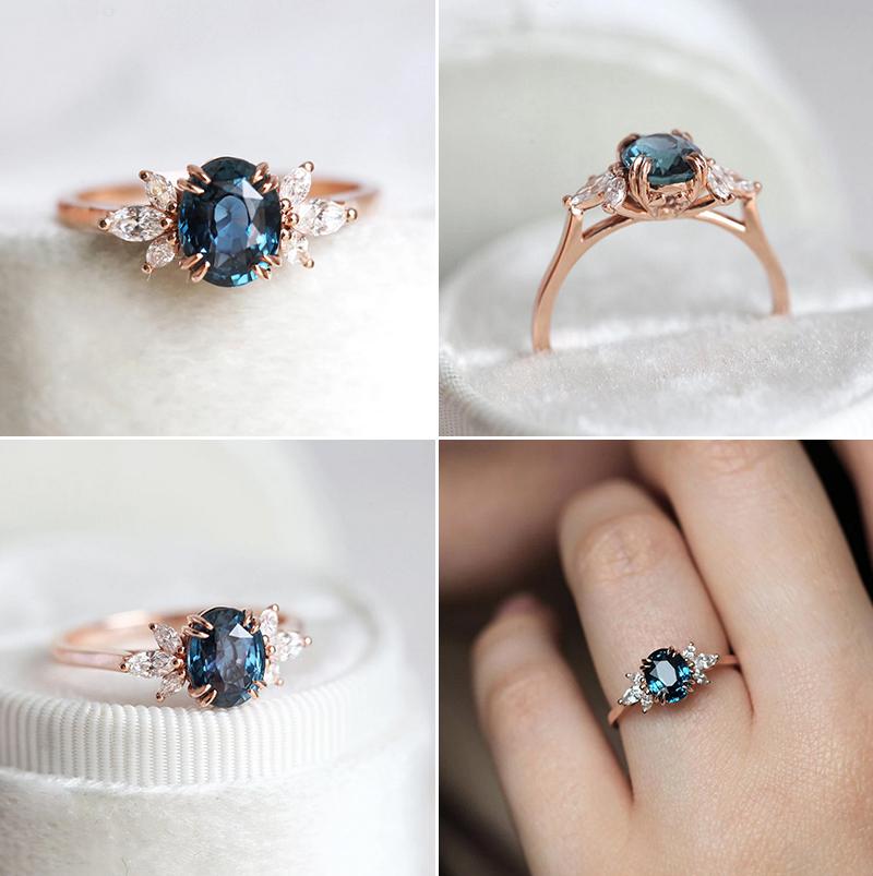 Luella Oval Blue Sapphire Diamond Ring