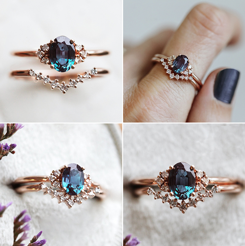 Dora Alexandrite Ring Set