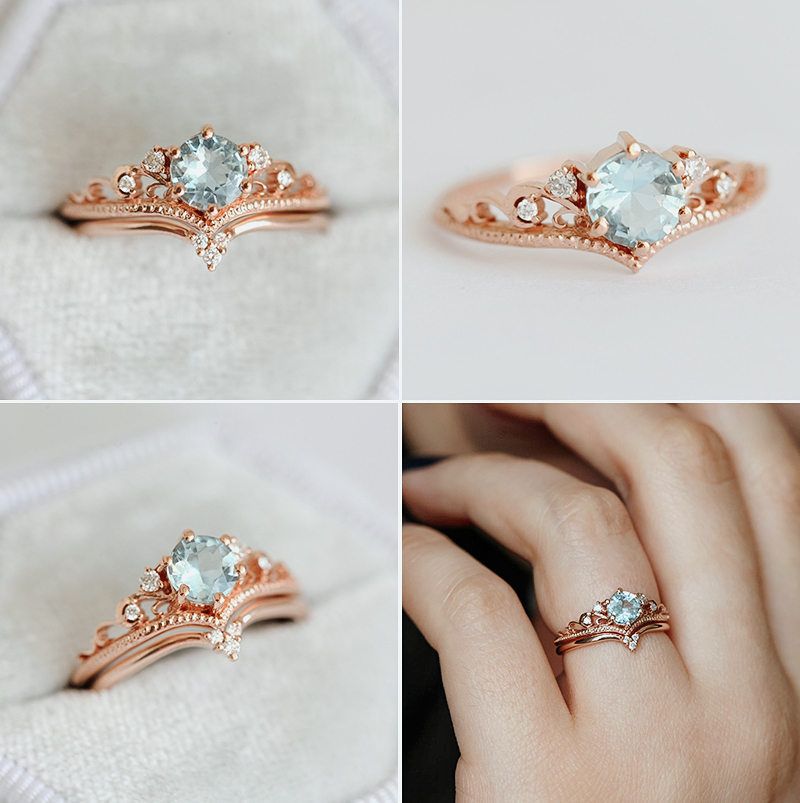 Aquamarine Engagement Set