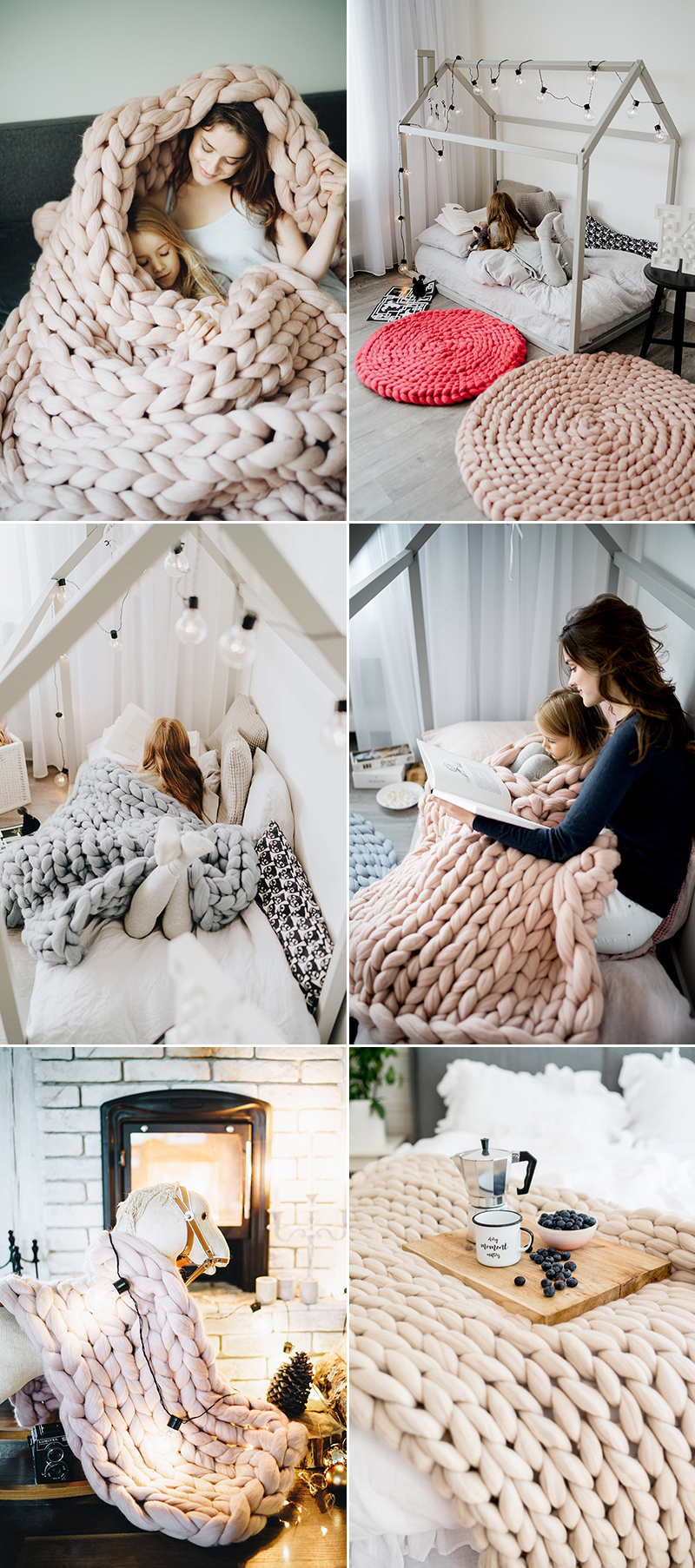 粗毛線針織毯