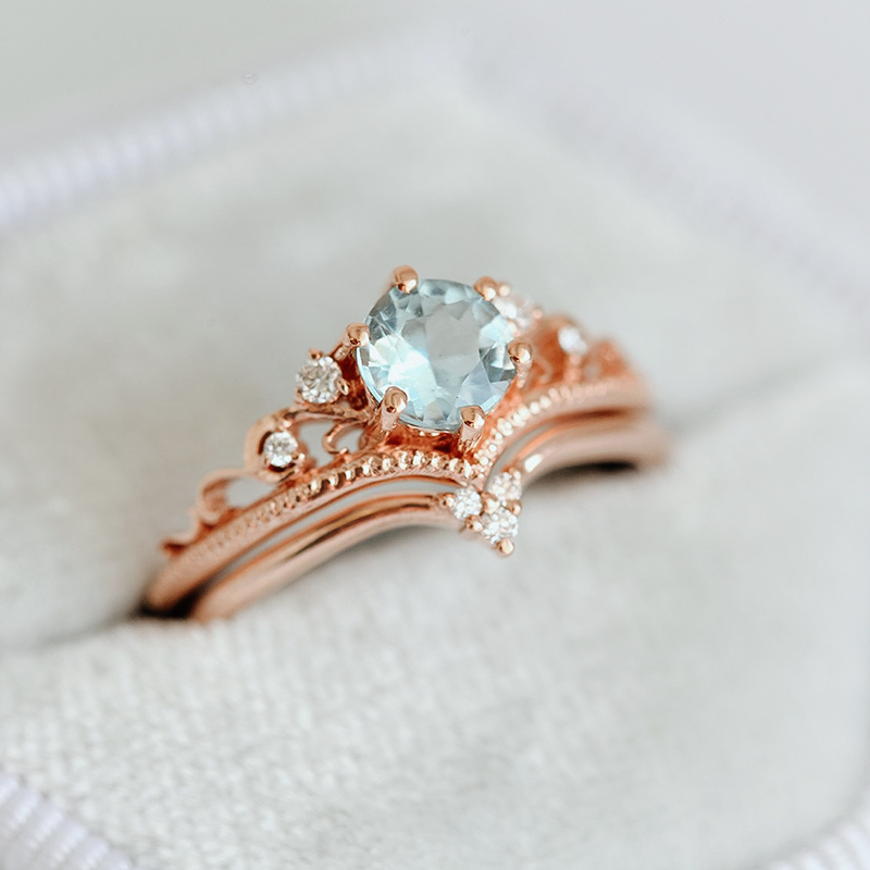 Aquamarine Tiara Band Engagement Ring Set