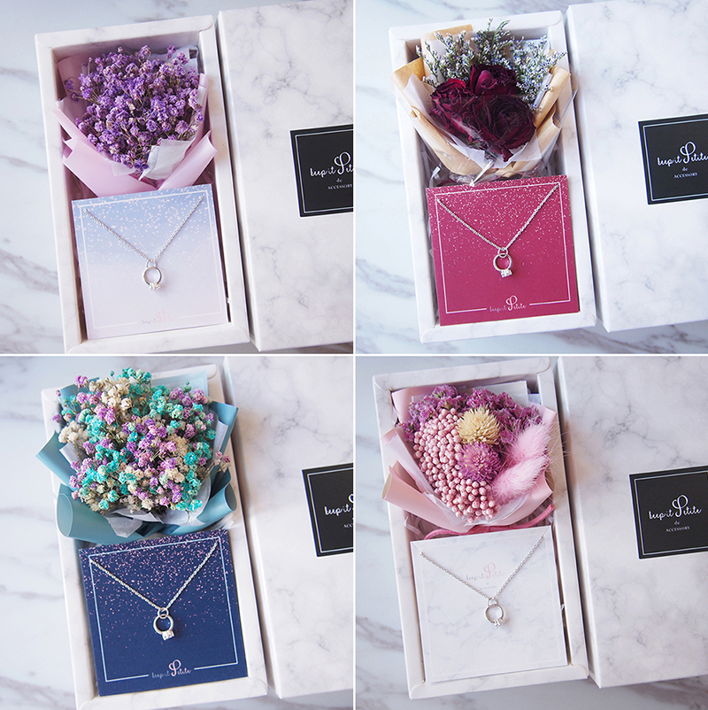 Ring Necklace With Mini Keepsake Bouquet Gift Set