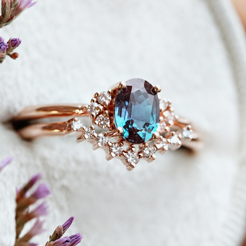 Alexandrite and Diamond Cluster Ring Two-Piece Set