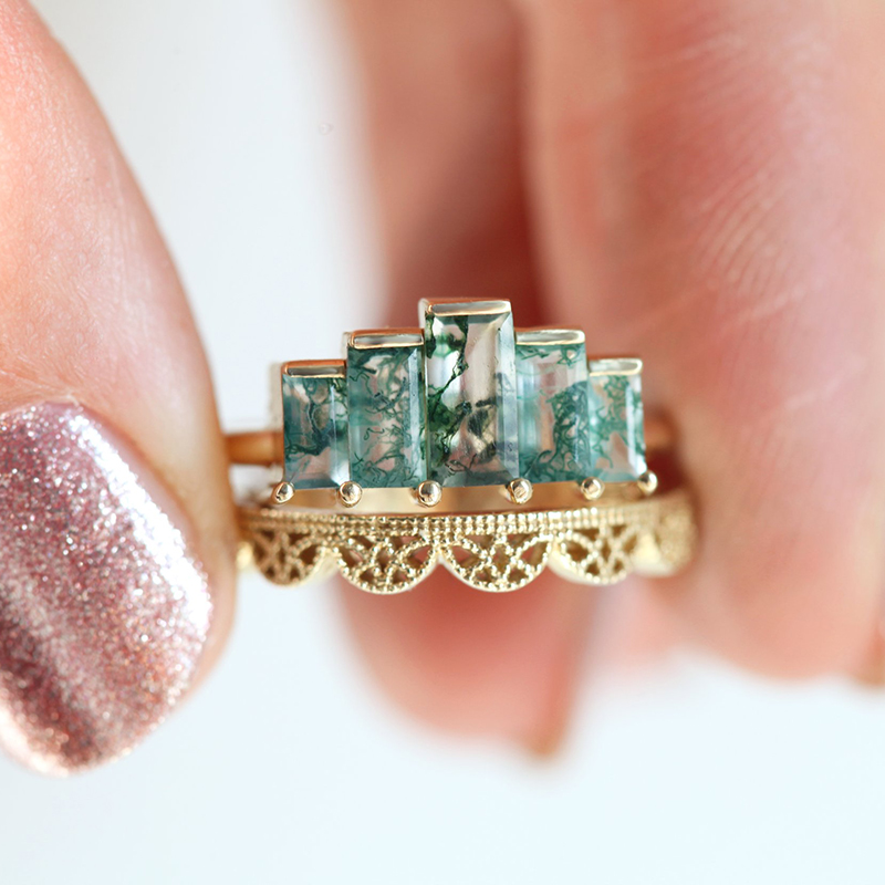 Moss Agate Lace Crown Ring Set