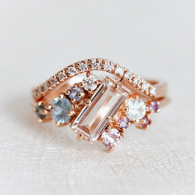 Baguette Morganite Engagement Ring Set