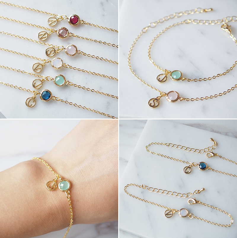 Glass Stone Bracelet with Personalized Letter