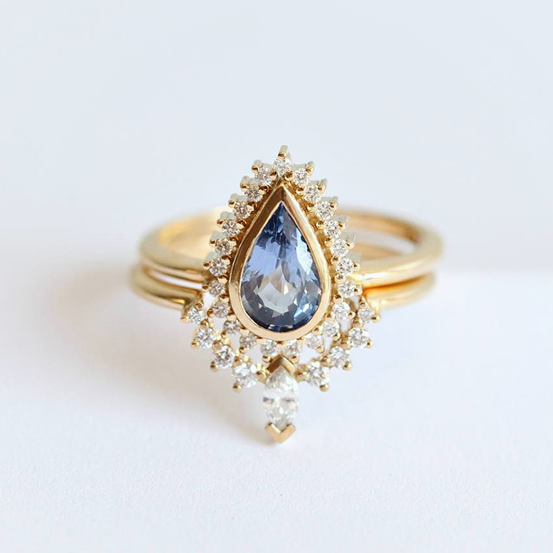 Sapphire with Stacking Diamond Ring