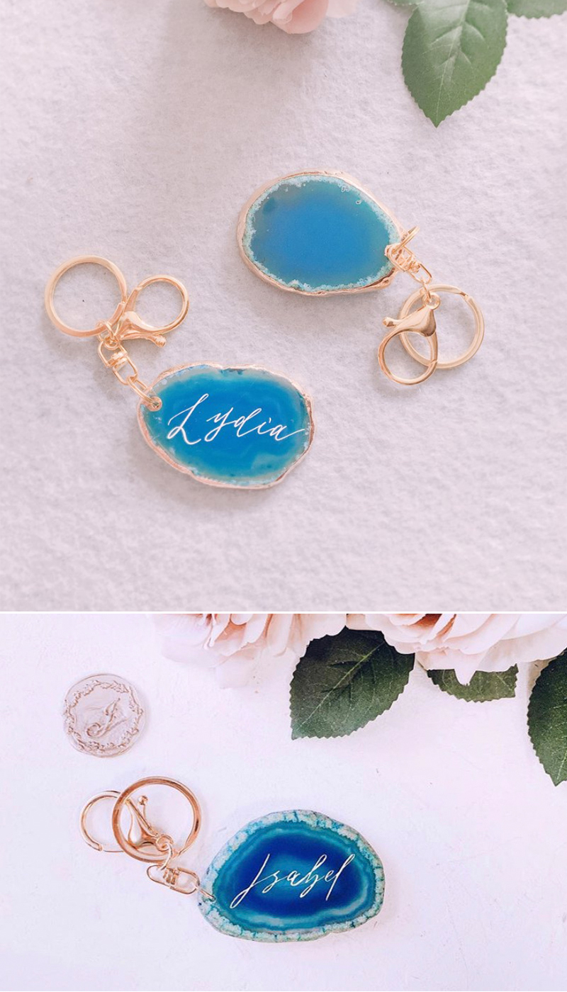 Personalized Calligraphy Agate Keychains