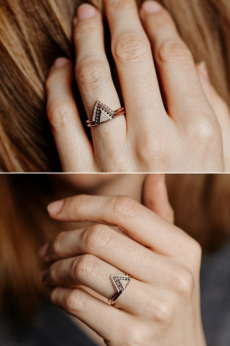 Modern Triangle Diamond Ring Set