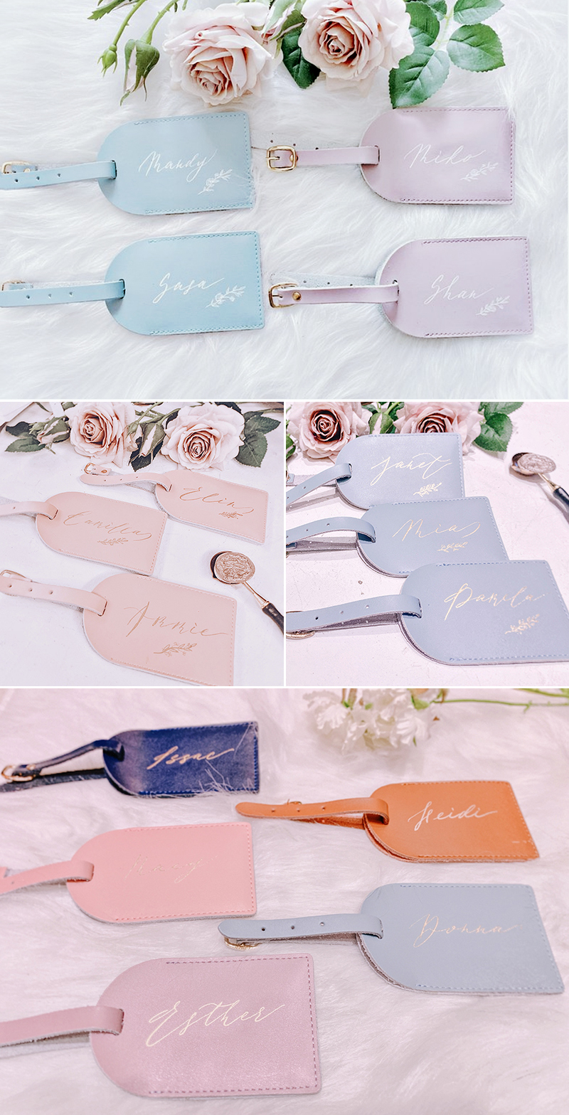 Personalized Calligraphy Leather Luggage Tag
