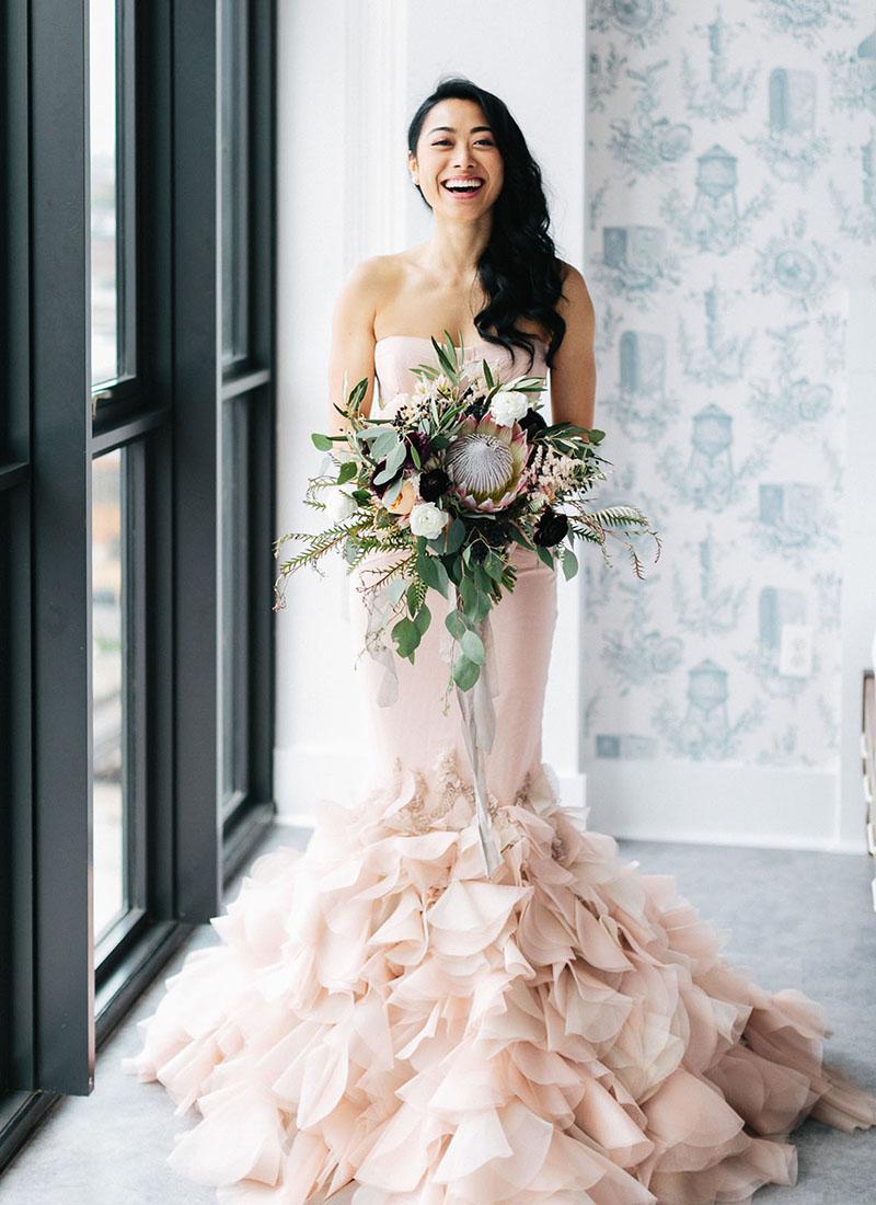 peaceful calming color wedding dress