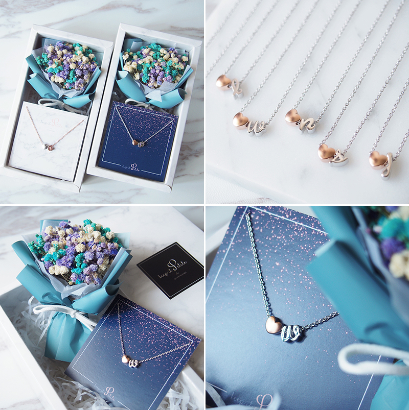 Personalized Heart Letter Necklace with Mini Keepsake Bouquet Gift Set