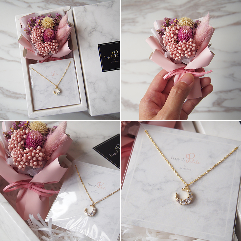 Sparkly Moon Necklace with Mini Keepsake Bouquet Gift Set