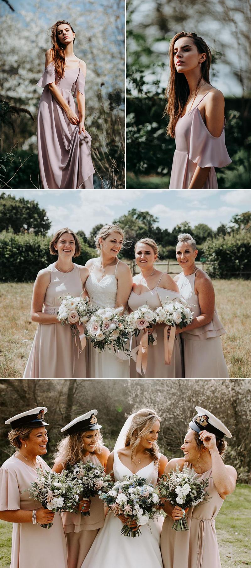 blush ivroy bridesmaid dress