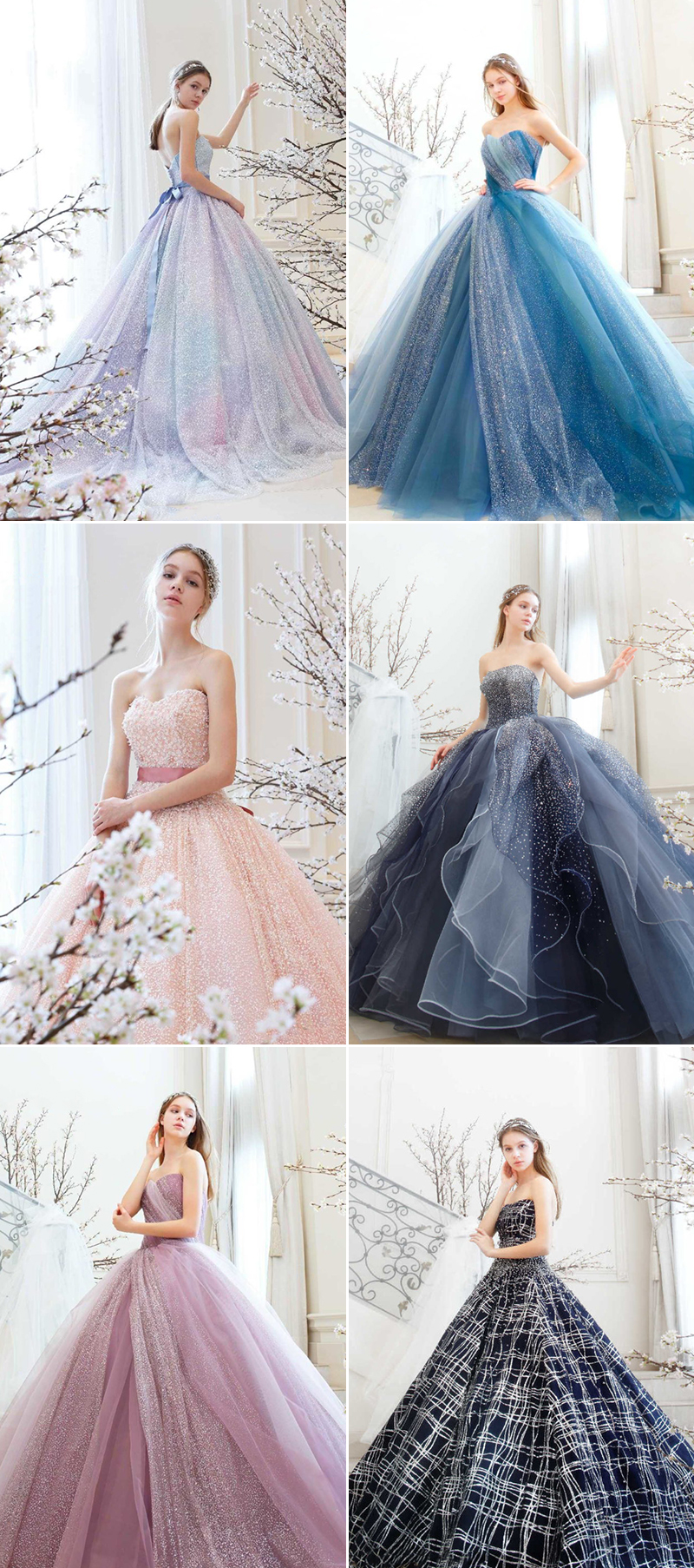 sparkly colored wedding dresses