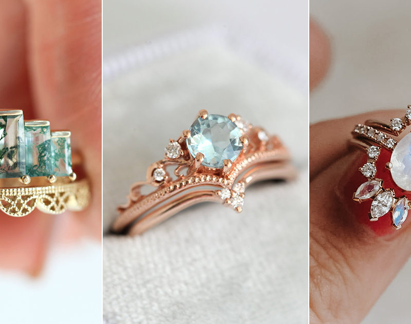 8 Stackable Gemstone Engagement Ring Sets You'll Say Yes To