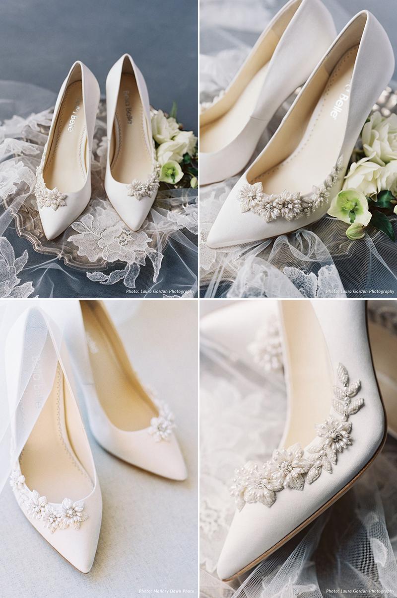 3D Floral Luminous Pearl Beads Heels