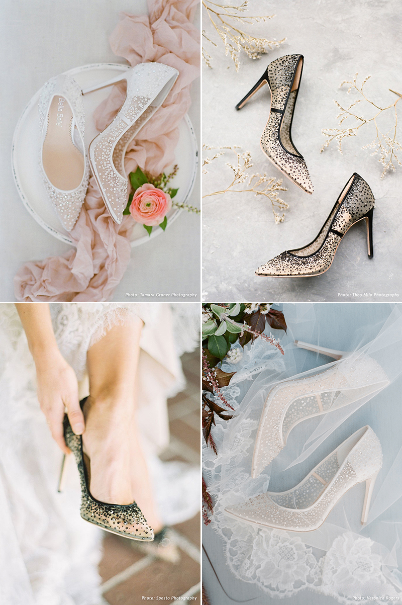 Sequin Crystal Shoes In White