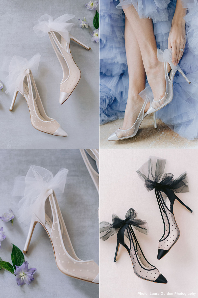 Polka Dot Ivory Pump With Tulle Bow