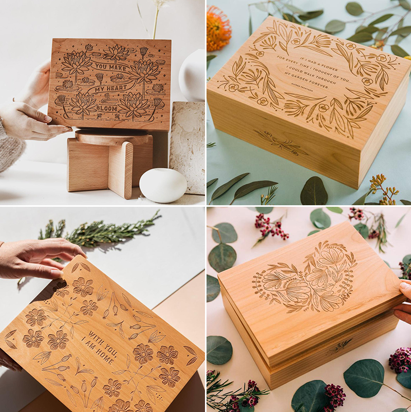 Laser Engraved Motif Wood Keepsake Boxes
