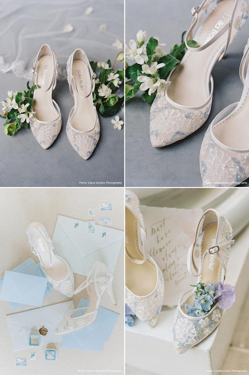 Viola Baby Blue Floral Lace Wedding Heel